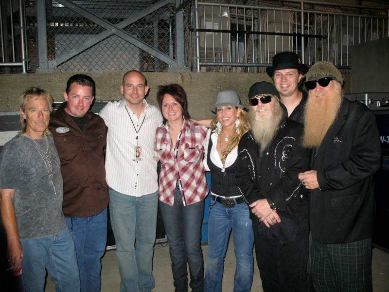 Pictured here with Heidi Newfield (and touring band) & Frank Beard, Dusty Hill and Billy Gibbons of ZZ Top. Circa 2009.
