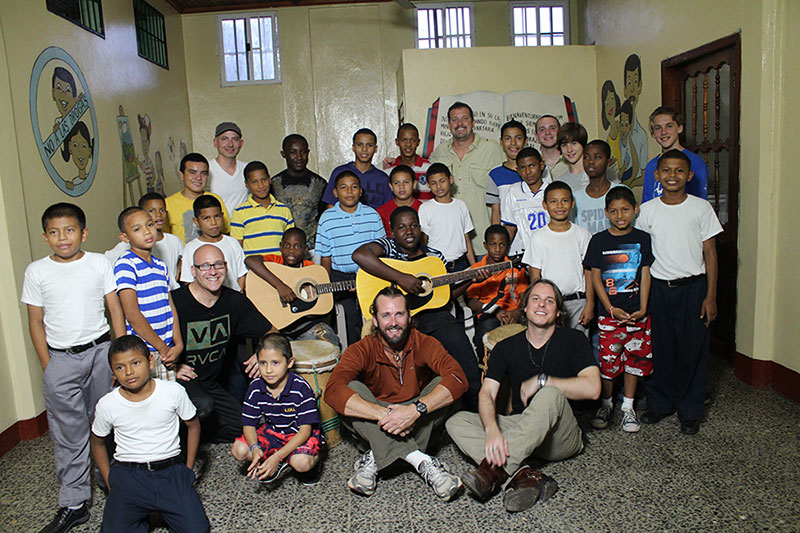 Pictured here with Sister Hazel members during a visit to Honduras during partnership with Feed the Children. Circa 2013.