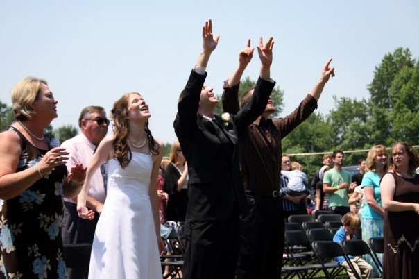 Our first act as husband and wife was to praise Jesus!