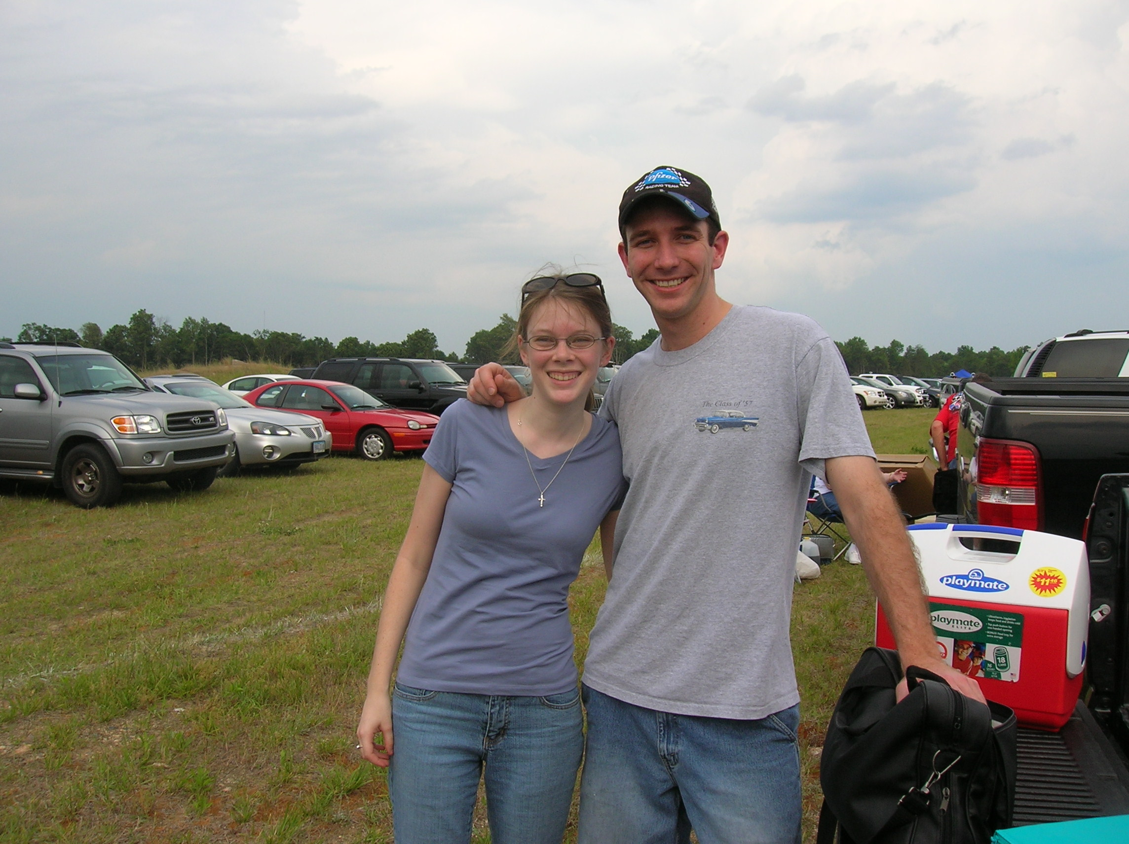"For one of our first official ""dates"" we went on a double date to a NASCAR race!"