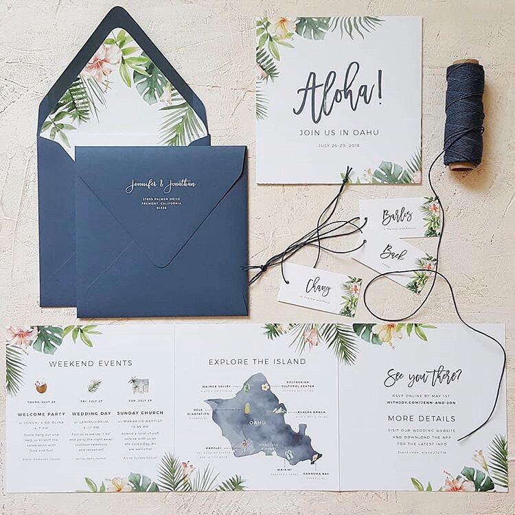 Tropical Hawaii Wedding Invitation