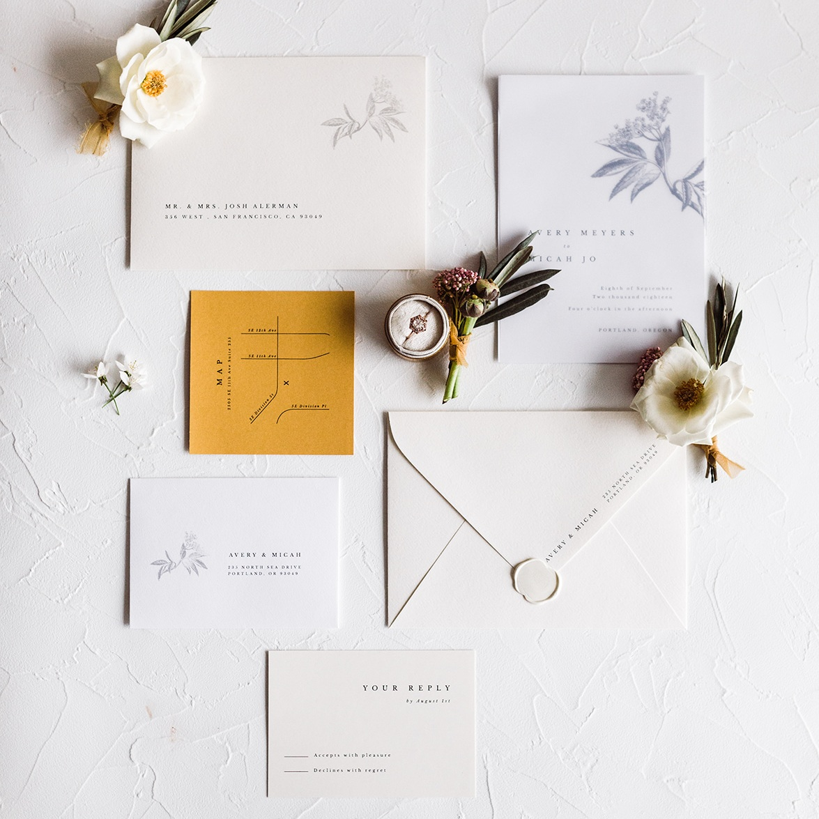 Vintage Floral Mustard Yellow Invitation Suite