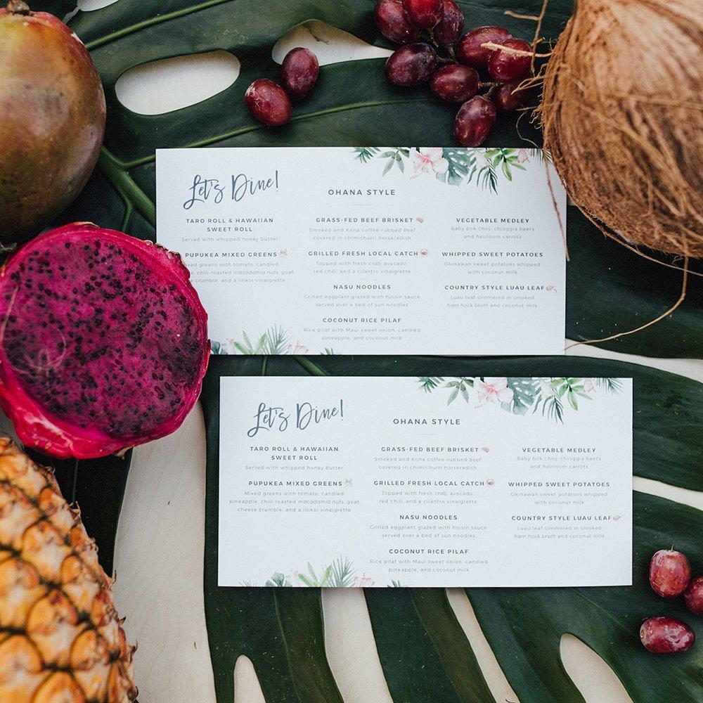 Hawaii Tropical Wedding Menus