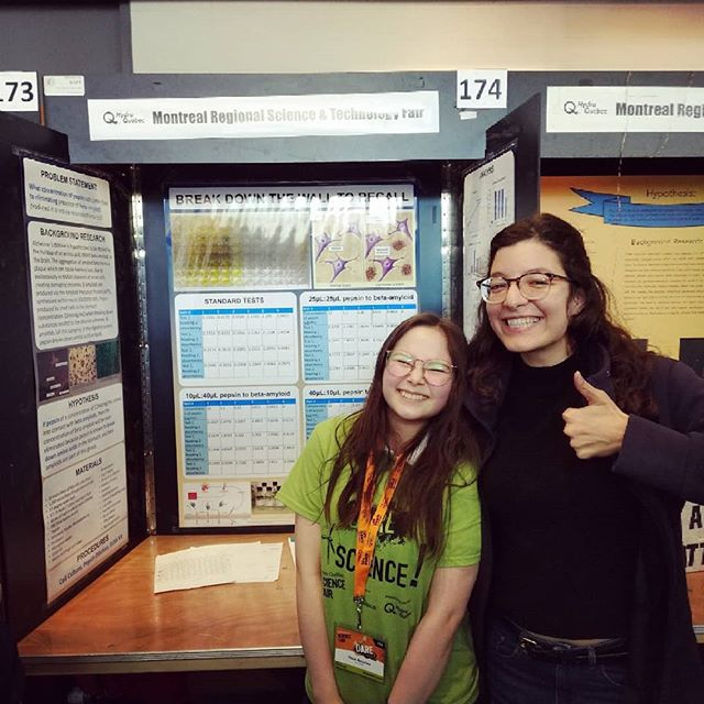 Look at these happy faces! Montreal Regional Science Fair was a blast, and we're so happy we've been part of it! Award ceremony tonight and crossing our fingers!!!!! . . . #stemgirlsrock #stem #science #girlsdoscience #diybio #openscience #biology . Thanks as well to @thestudyschool @hyasynthbio @shihmicrofluidics