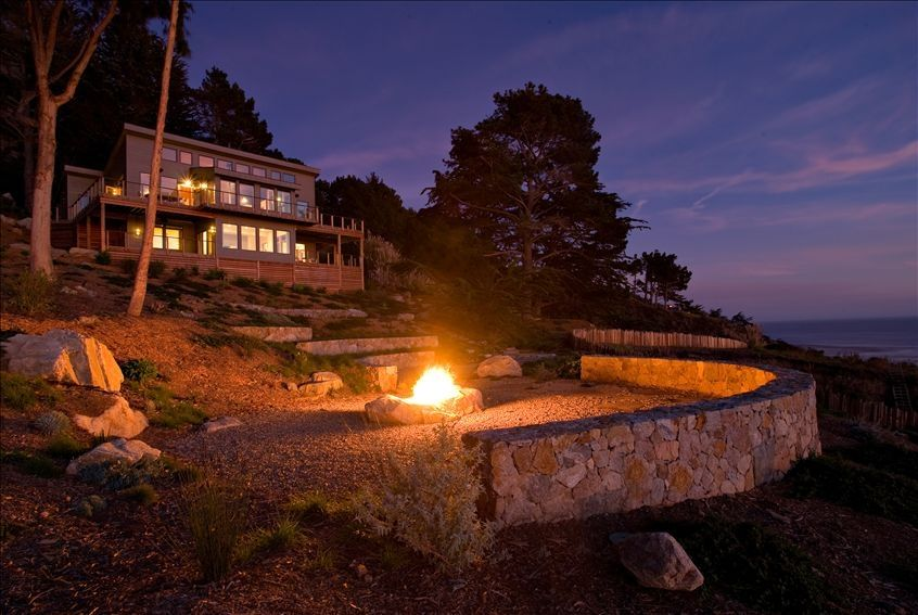 Fire pit and home overlooking the Pacific ocean.