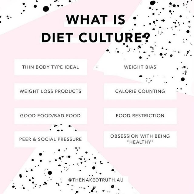 diet culture is the cloud that drizzles fatphobia onto our perfect cherubic faces 👼🏽 i also feel this graphic created by @thenakedtruth.au clearly describes diet culture as a set of thin ideals and behaviors to prevent fatness - as if that was even possible. the second image describes why diets don't work. it includes a point about overeating and bingeing. i don't believe overeating should necessarily be pathologized. i say this mostly bc folks who identify as binge eating are usually making up for food they hadn't eaten yet in that day. restriction usually precedes bingeing. and so idk if that's necessarily a bad thing 🤷🏽‍♀️☺️ hope these slides help! . check out @fionawiller website, linked in her bio for more info on why being fat is ok, healthy, and just fine. she provides lots of readings and even podcast recordings with additional information ☺️🎈 happy reading!