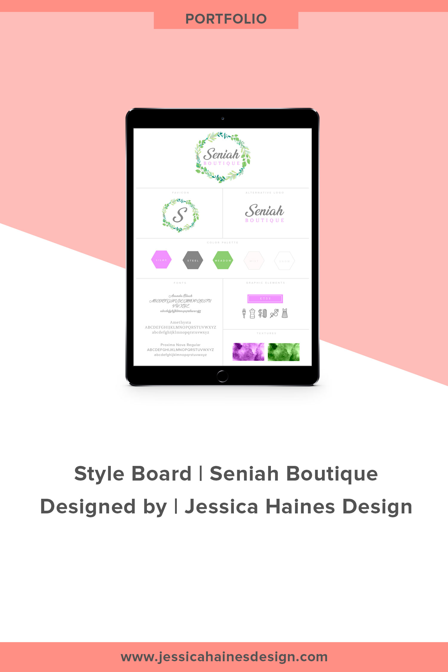 Seniah Boutique branding style board. This is the style board for a kids boutique clothing store. Want to take your brand to the next level with a custom logo and brand style board? Click through to find out how I can help you with a brand refresh |  www.jessicahainesdesign.com