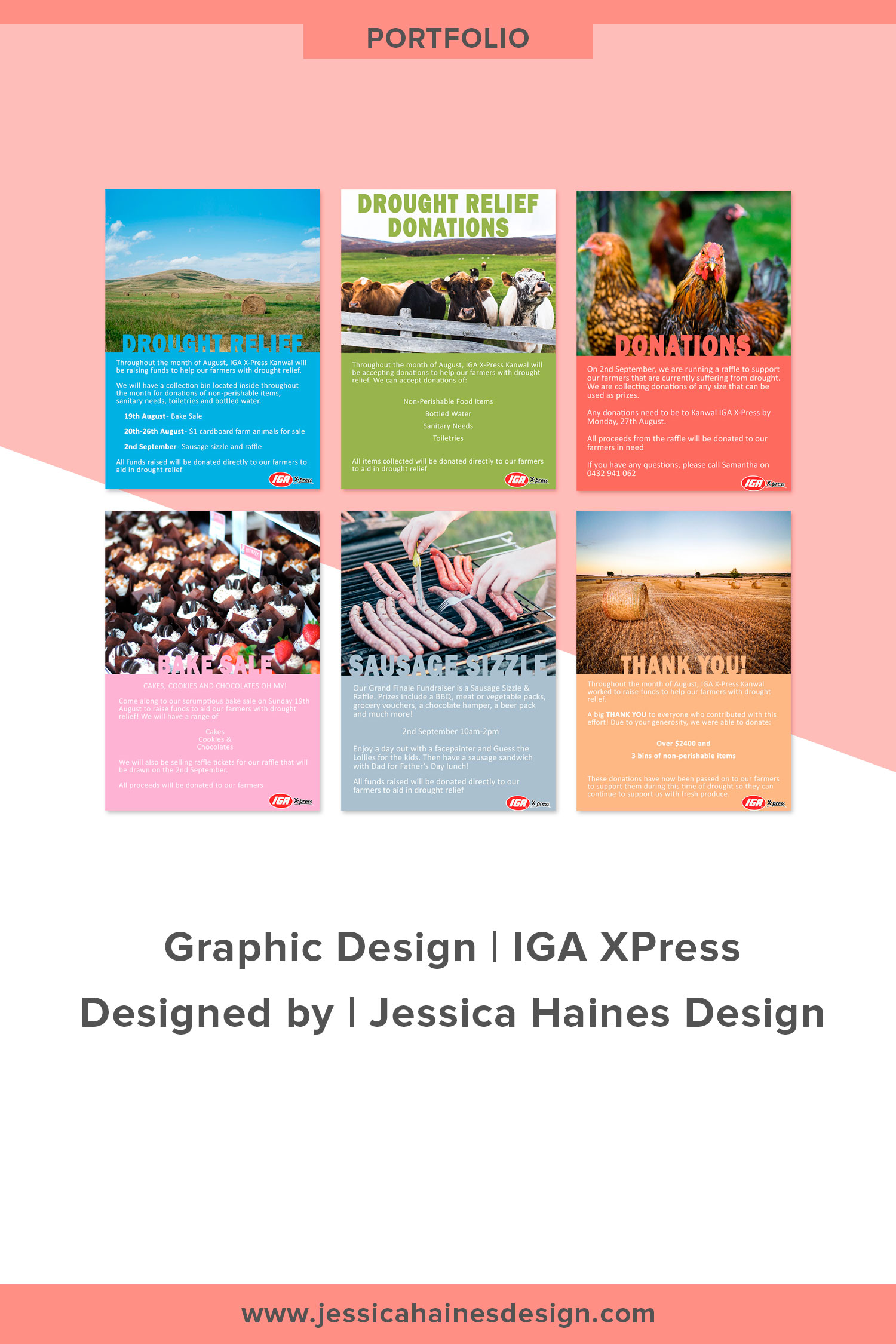IGA Xpress custom graphic design posters for fundraiser for Aussie farmers suffering from drought. Click through to see more details and find out how I can help you with a custom graphic design project |  www.jessicahainesdesign.com