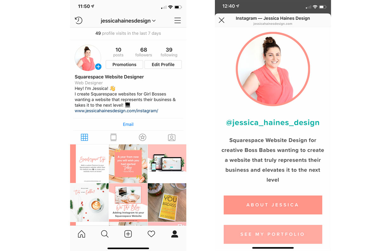 Instagram landing page on Squarespace for Jessica Haines Design