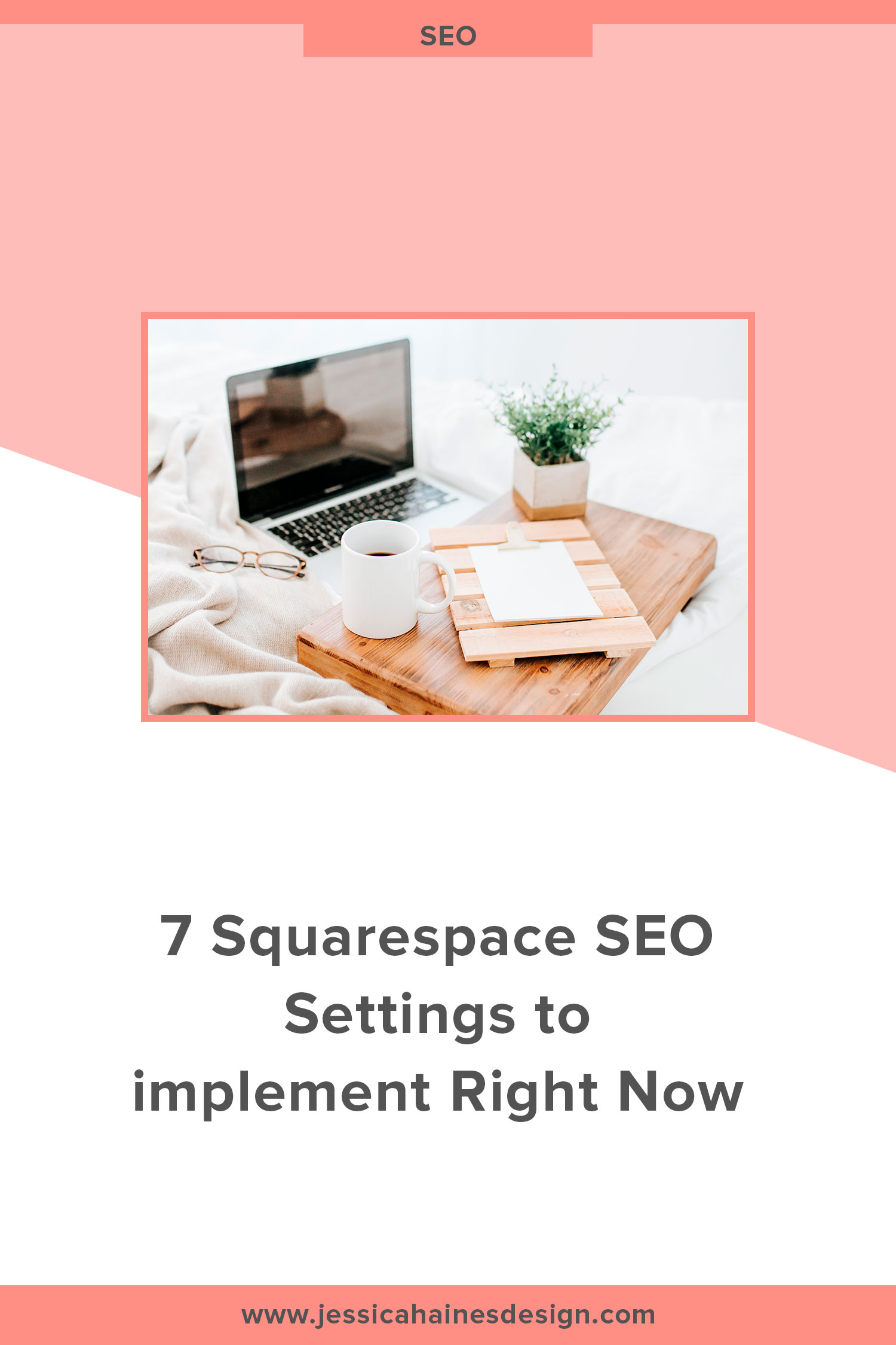 Squarespace has some great features to help with optimizing your website for SEO. Implementing these 7 settings will help to set a strong SEO foundation that you can build on over time, and will help to give your website a better chance at showing at the top of Google search results. Click through to see how to change these settings and take some time this week to make the changes and set the foundation for your SEO | www.jessicahainesdesign.com