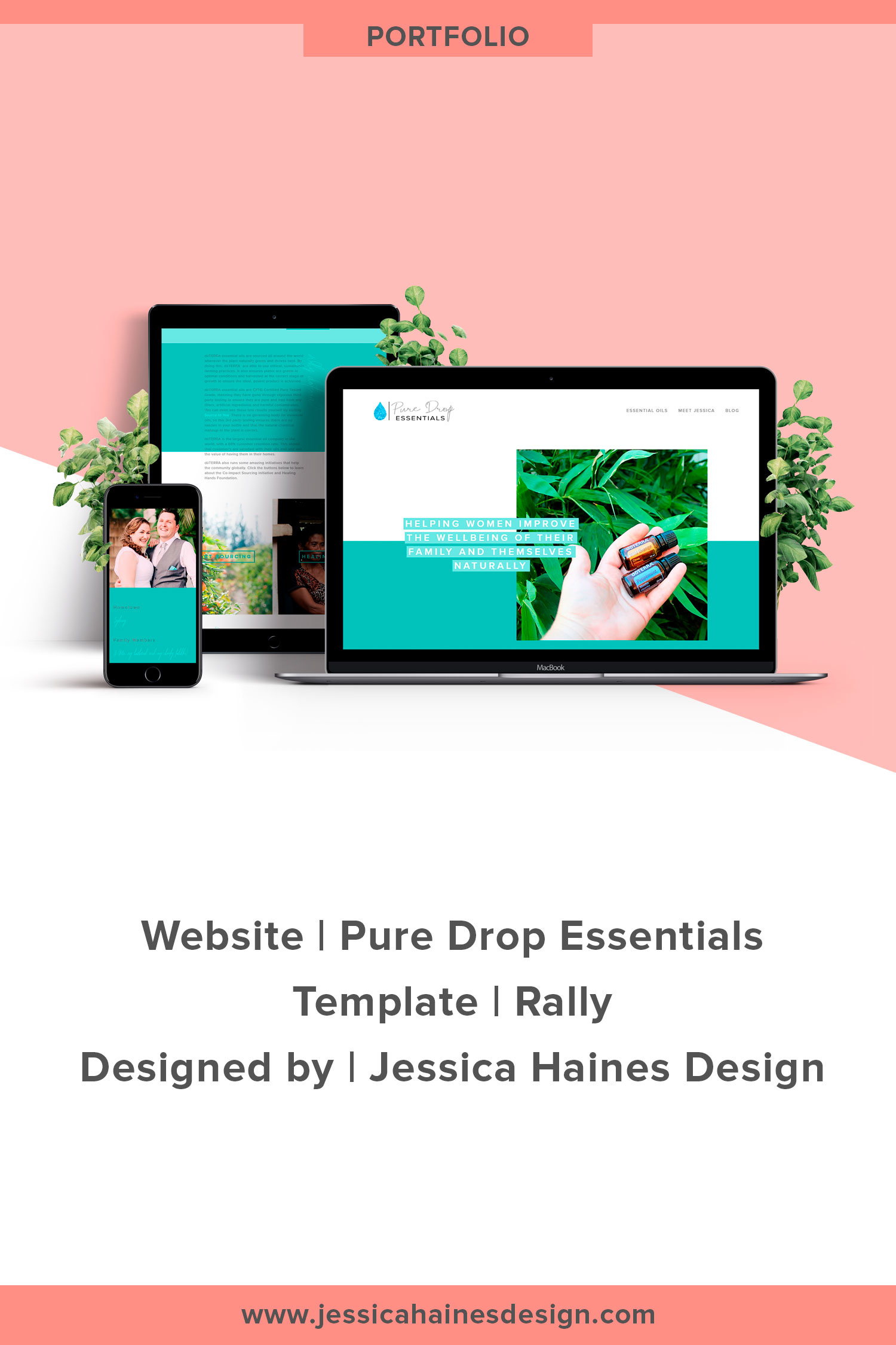 Pure Drop Essentials | Custom Squarespace website design for Pure Drop Essentials, and essential oil business empowering women to use essential oils for the well-being of their families. If you want to help take your business to the next level, click through to see what your new Squarespace website and brand refresh could look like! | www.jessicahainesdesign.com