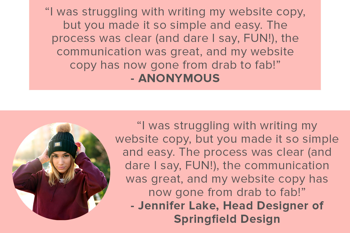 The same testimonial can be so much more convincing when you add credibility to it with an image and the persons full name, position and company! | www.jessicahainesdesign.com