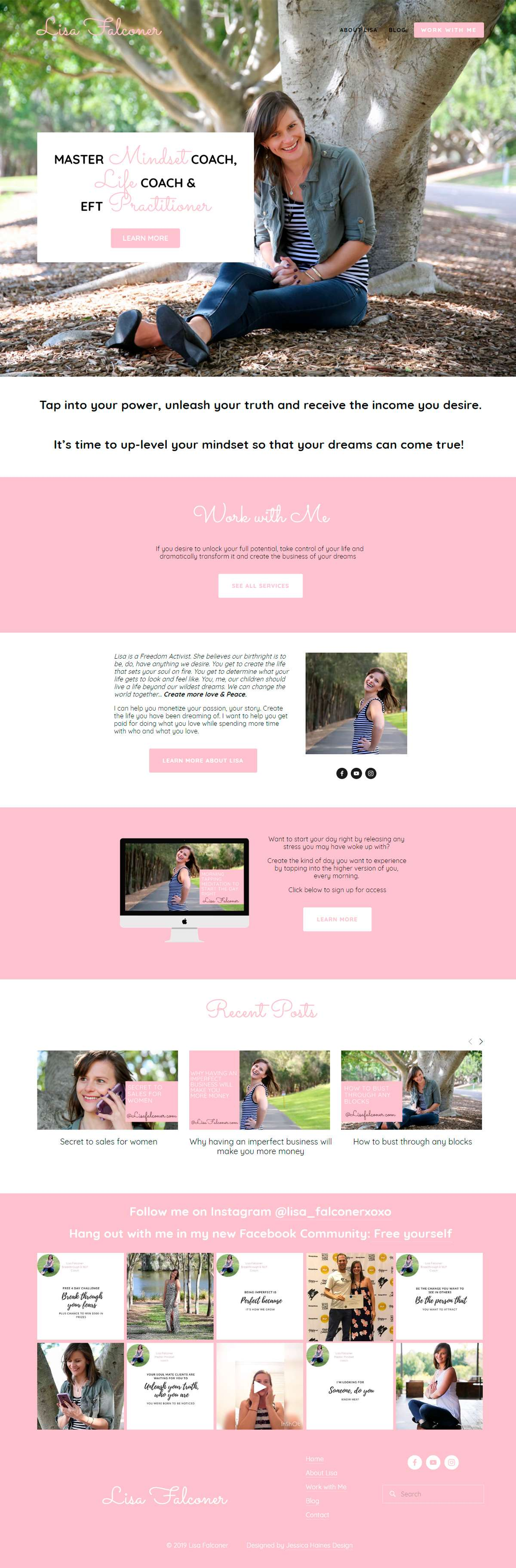 Want to see the best coaching websites in Squarespace? This one is for master mindset coach, life coach and EFT practitioner, Lisa Falconer. Click through for inspiration for your website | www.jessicahainesdesign.com