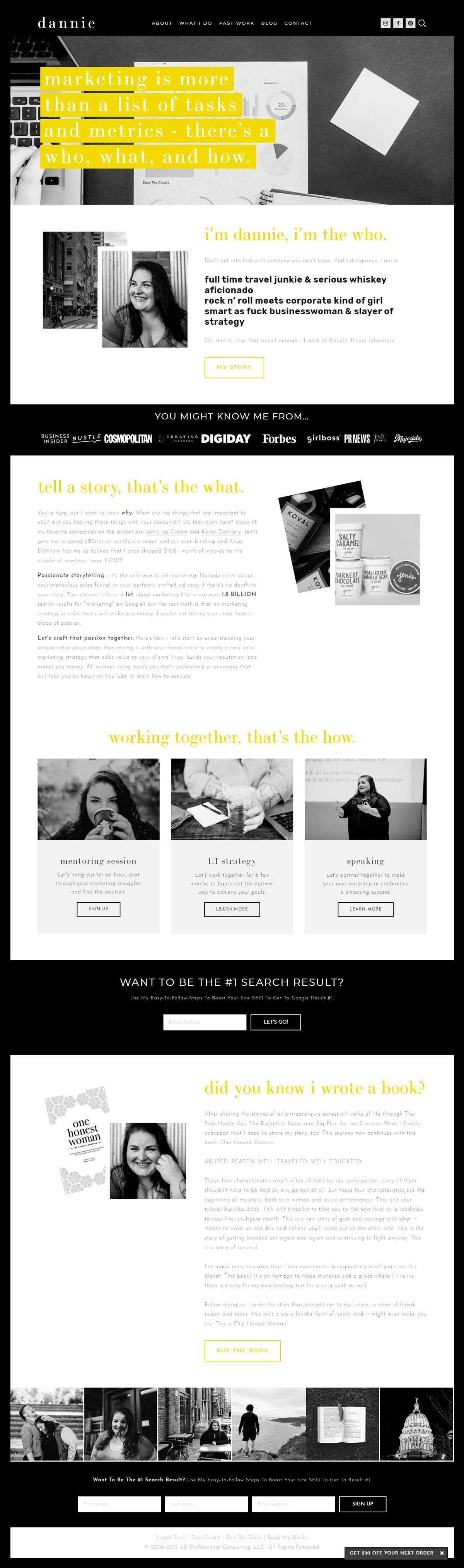 Want to see the best coaching websites in Squarespace? This one is for marketing and SEO mentor, speaker and author, Dannie Fountain. Click through for inspiration for your website | www.jessicahainesdesign.com