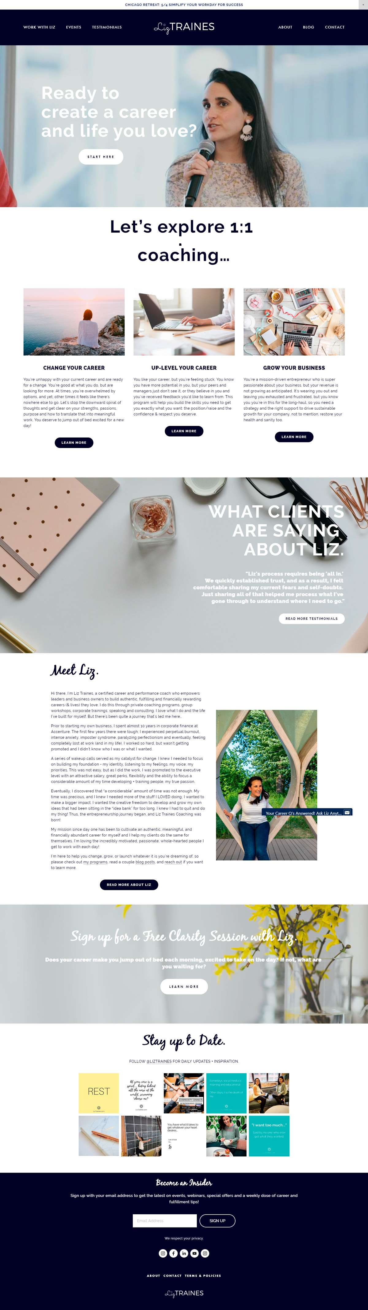 Want to see the best coaching websites in Squarespace? This one is for business coach, Liz Traines. Click through for inspiration for your website | www.jessicahainesdesign.com