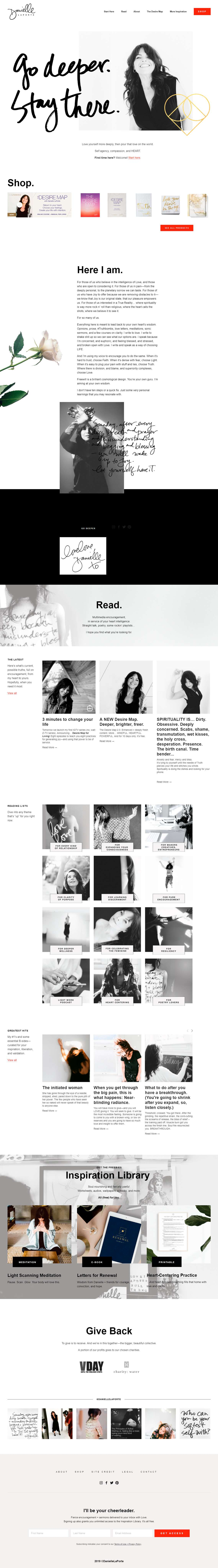 Want to see the best coaching websites in Squarespace? This one is for life coach, author and speaker, Danielle LaPorte. Click through for inspiration for your website | www.jessicahainesdesign.com