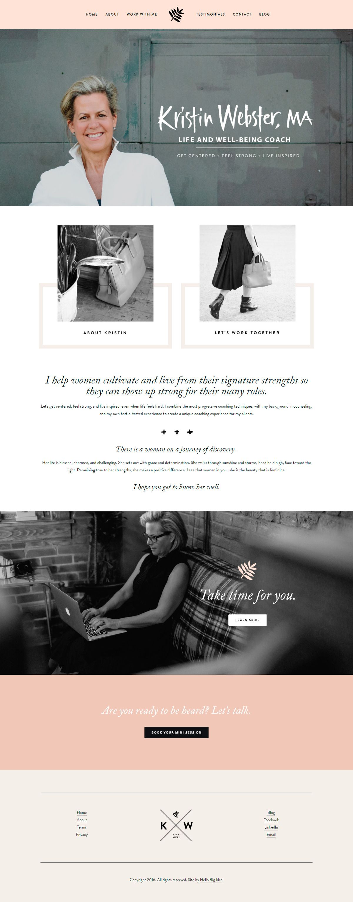 Want to see the best coaching websites in Squarespace? This one is for life and well-being coach, Kristin Webster Coaching. Click through for inspiration for your website | www.jessicahainesdesign.com