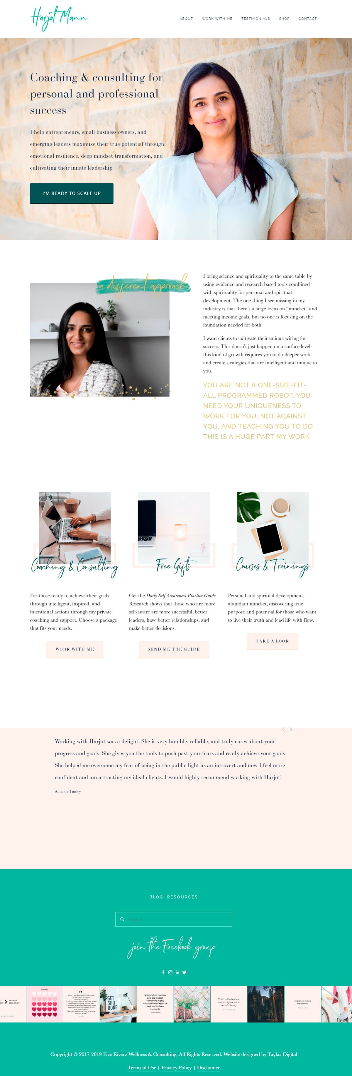 Want to see the best coaching websites in Squarespace? This one is for mindset and leadership coach, Harjot Mann. Click through for inspiration for your website | www.jessicahainesdesign.com