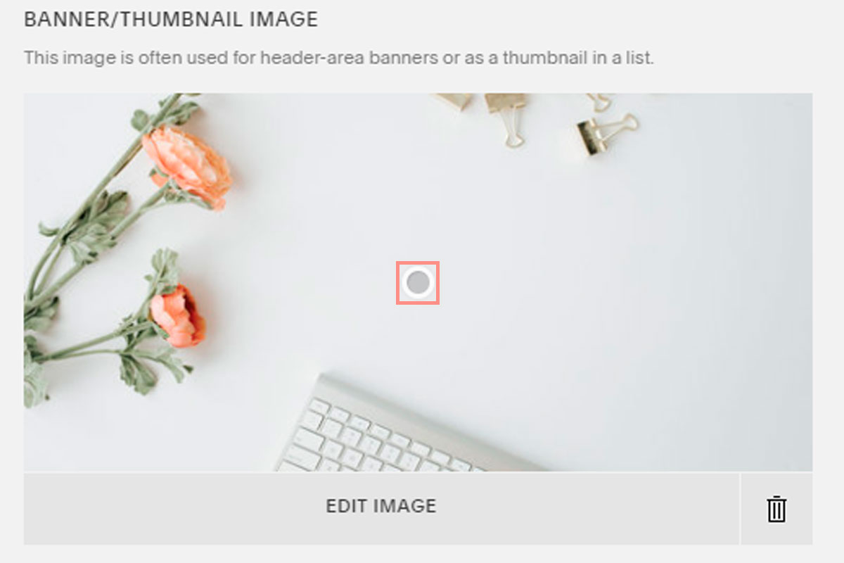 You can change a focal point on an image in Squarespace by dragging the dot in the middle of the image to where you want Squarespace to focus if the image is cropped | www.jessicahainesdesign.com