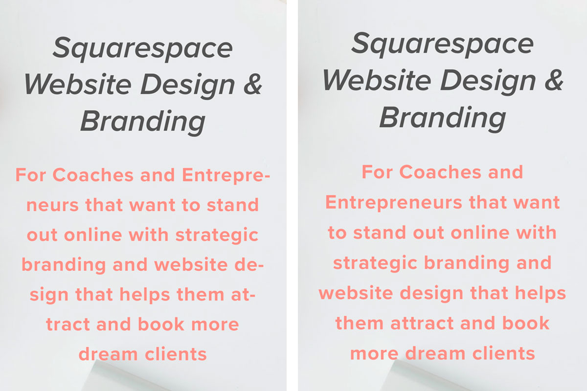 Are you frustrated by words hyphenating when you are looking at your Squarespace website on your mobile phone? You don't have to be! Click through to see how you can easily prevent this with a copy and paste code | www.jessicahainesdesign.com