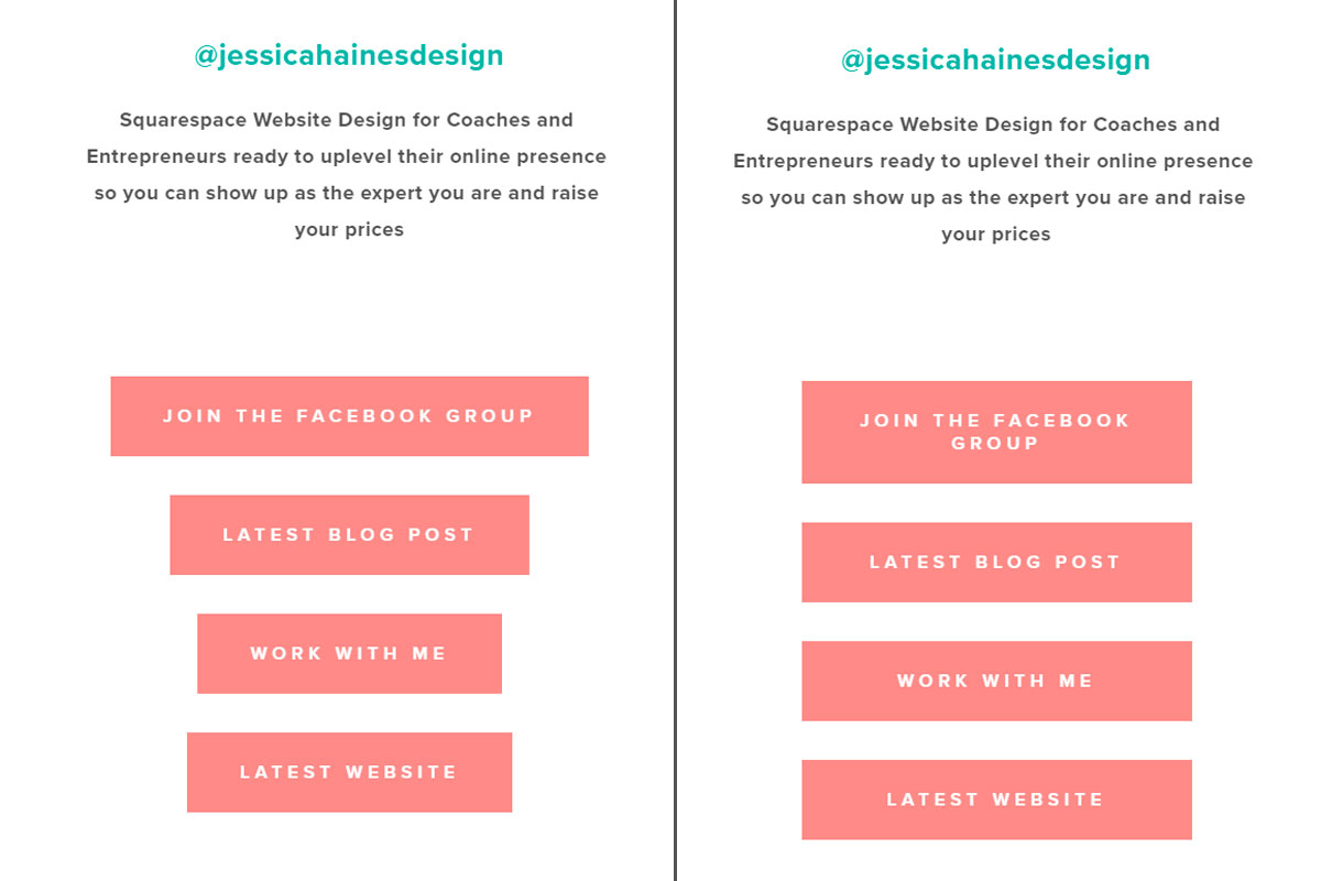 Ever want to stack buttons in Squarespace but find that they look terrible since the text is different sizes so the buttons are mismatched? It doesn't have to be that way! Click through to see the simple code to make your buttons the same width | www.jessicahainesdesign.com