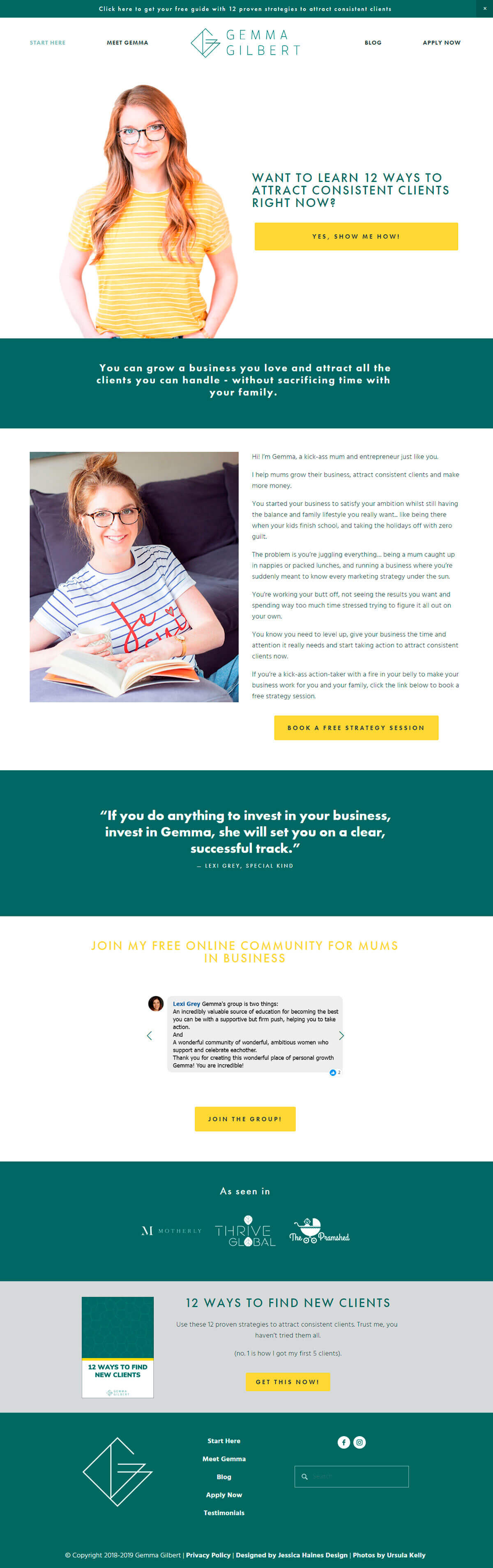 Gemma Gilbert is a business coach for mums. She helps them find consistent clients, set up a strong marketing plan and make more money without sacrificing family time