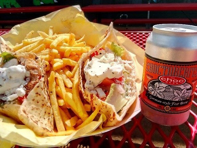 balsamic grilled chicken, tomato, Romain lettuce and house made tzatziki inside lebanese pita. Served with fries #pumpdirtyharry