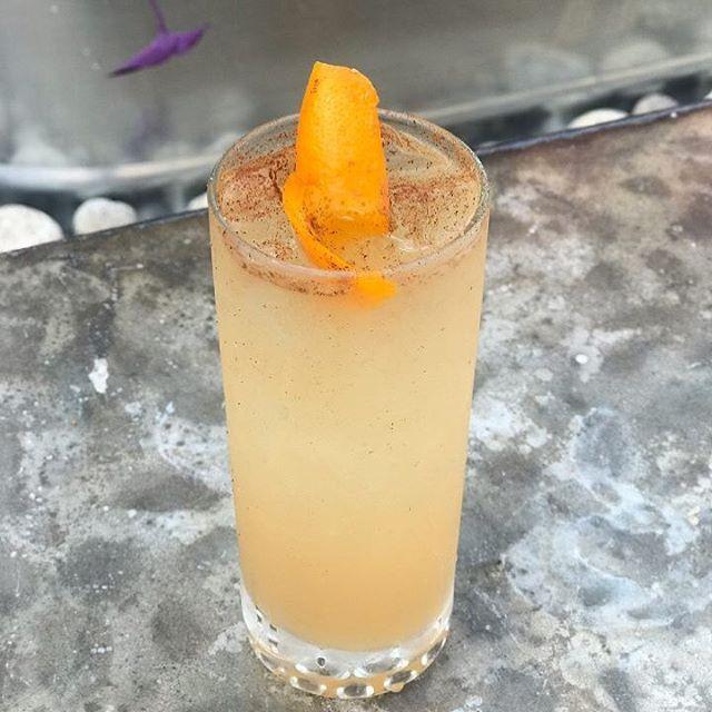 Felix Felicis  apple jack, old crow bourbon, fresh lemon & lime, honey, orange and angostura bitters, splash soda, cinnamon sprinkle 🍹: Rebecca Ginn #pumpdirtyharry