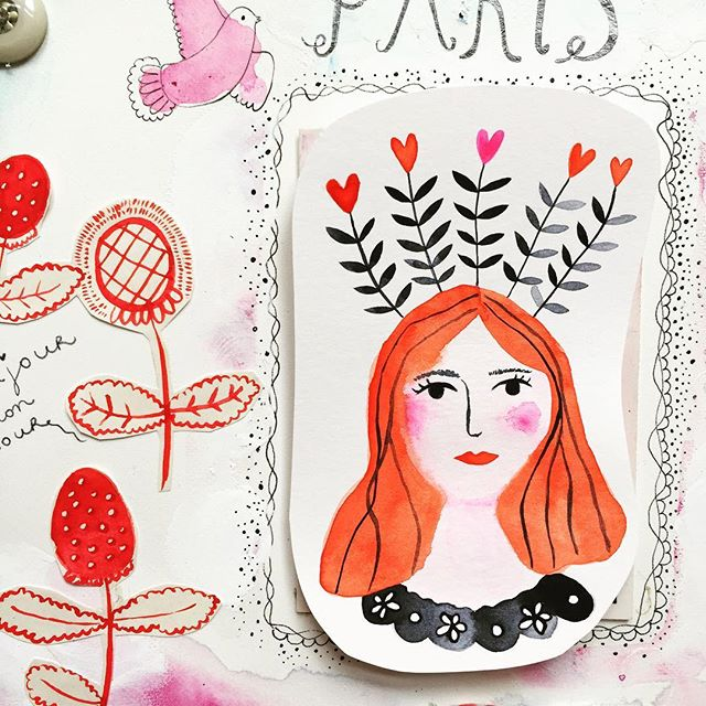 Popje's first post 😍 welcome:-) 💕 We're busy creating designs for new stationery 🌸 #popje #stationery #cards #illustration #watercolor #watercolorpainting #girls #redhair #paper #paperlove #flowers #floral #marenthe #babycard #welcome #collection