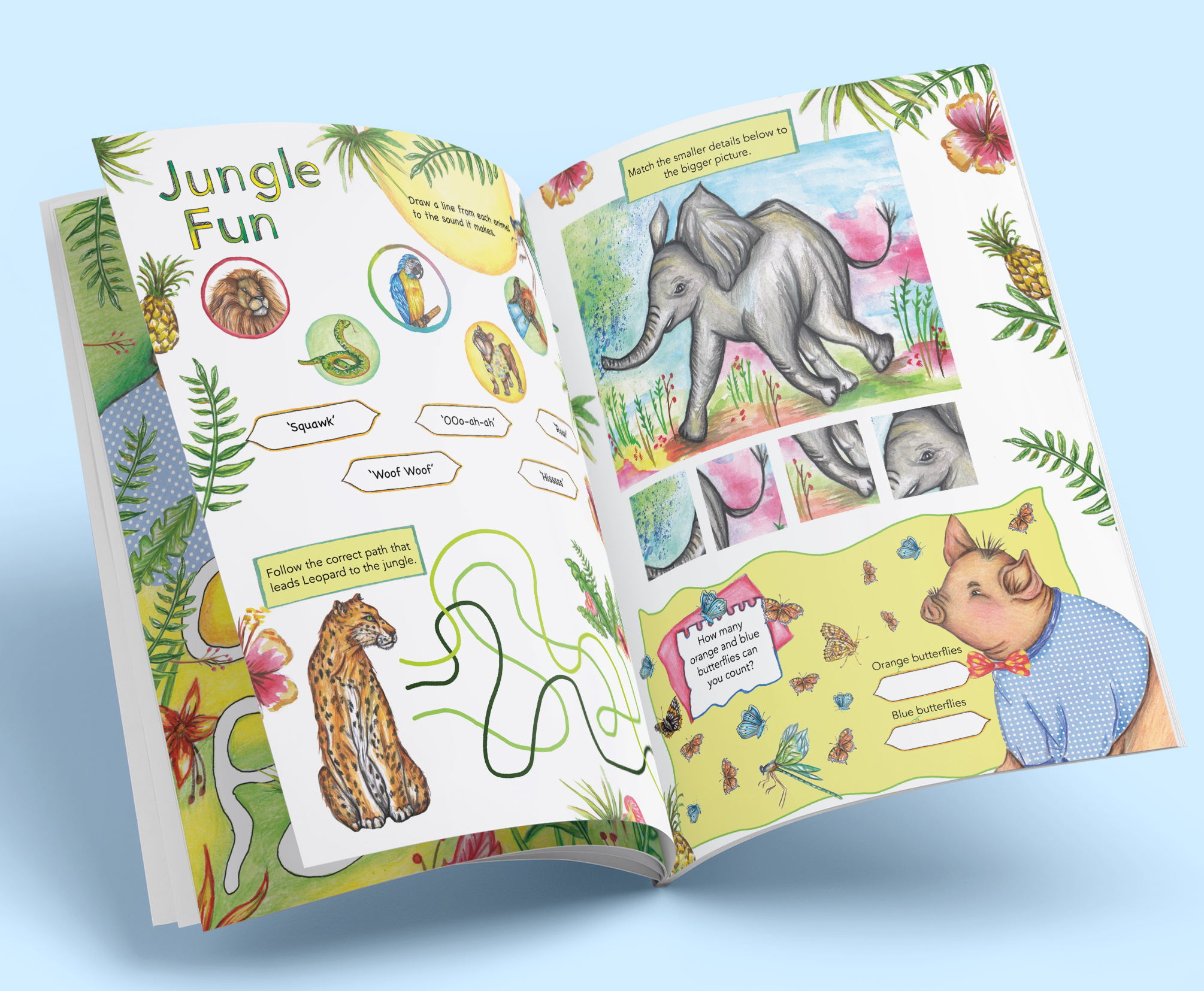 Jungle games page. Children can match the animals to the sound they make and help Pipkin the pig count all the butterflies.