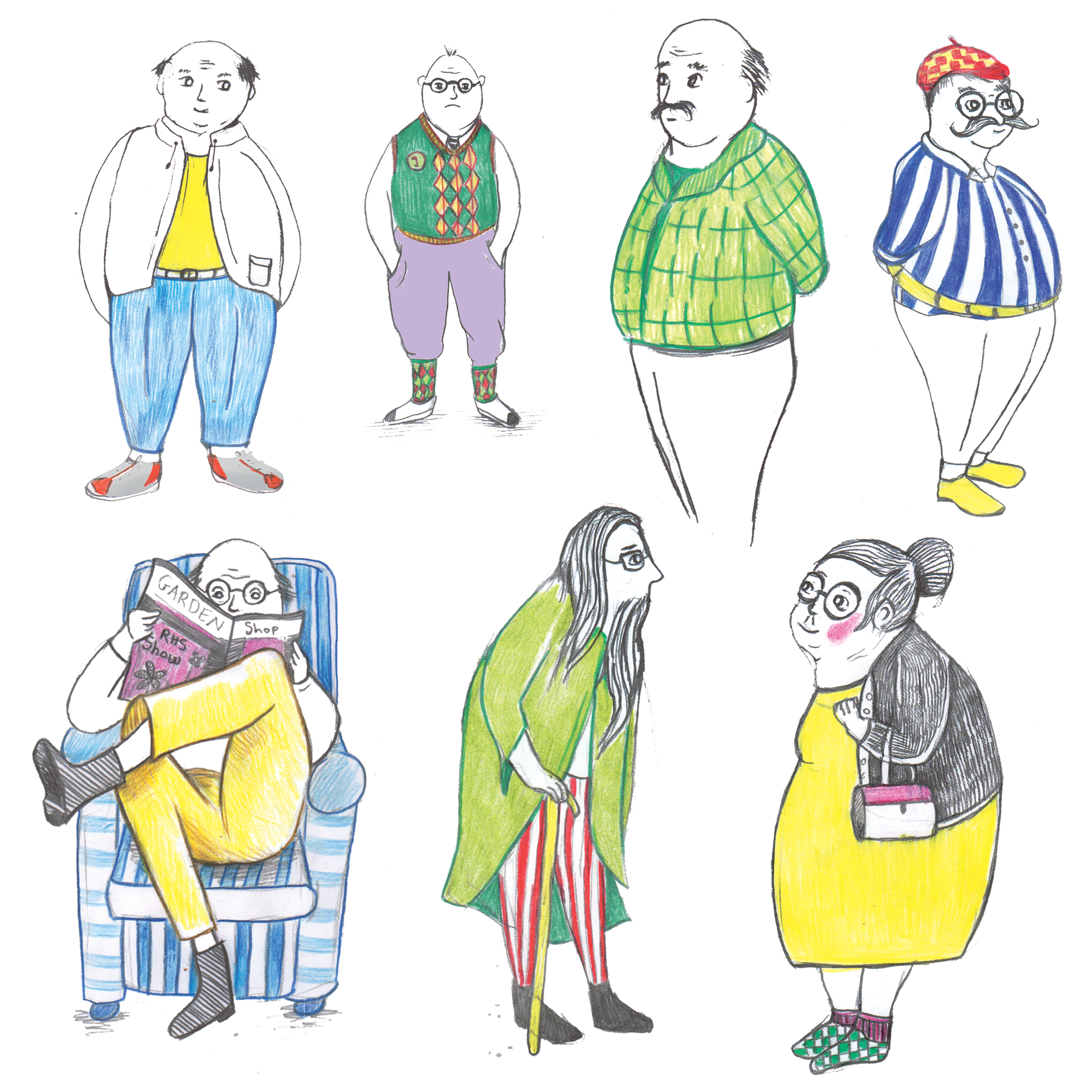 Drawing elderly people. Experimenting with colours and line work.
