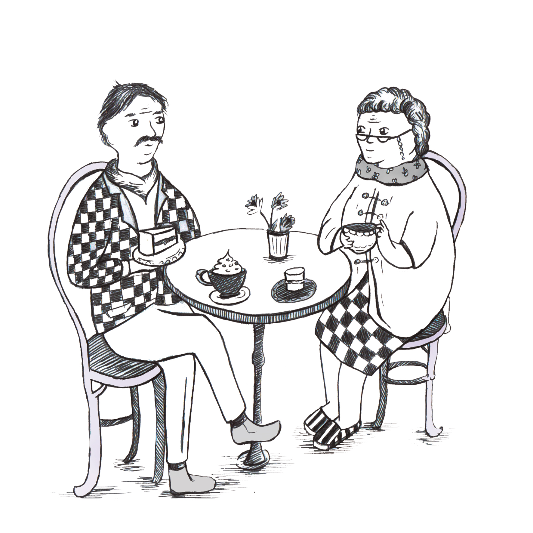 A black and white line illustration of an elderly couple enjoying tea and cakes. In fine line pen.