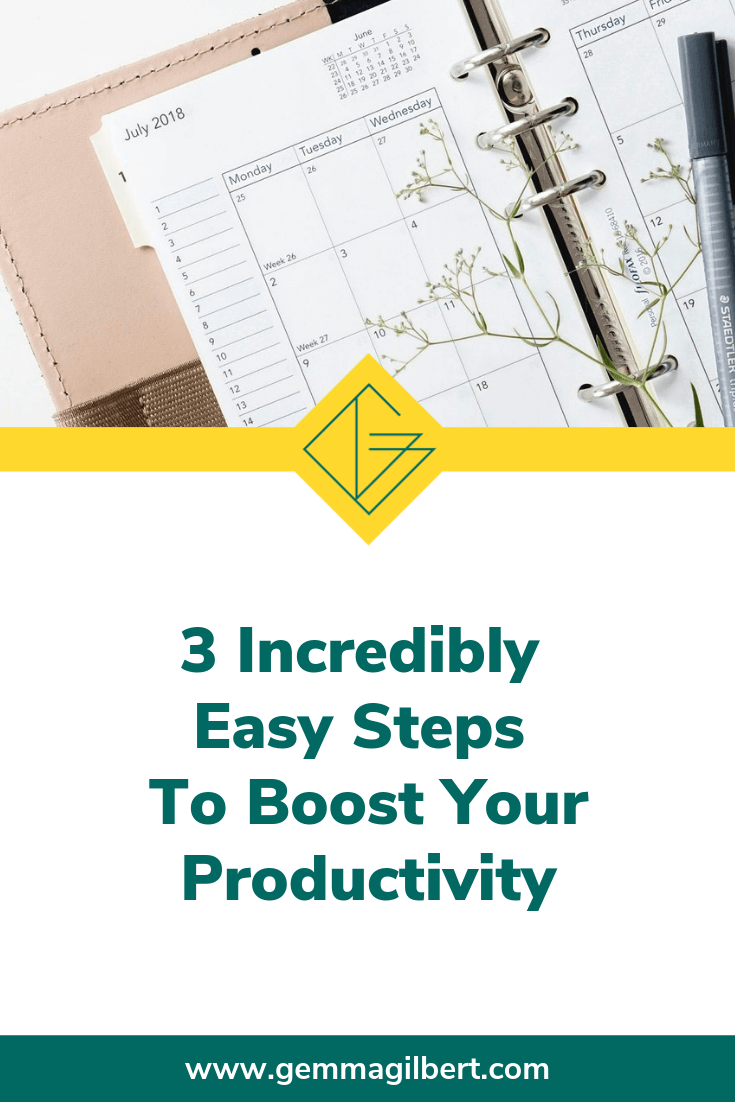 Life as a mum in business can be hectic. We have to get uncooperative little people dress, fed and out the door, hold everything together for our families and run a business on top of it all. These 3 tips will help boost your productivity so you can stay on top of it all | www.gemmagilbert.com