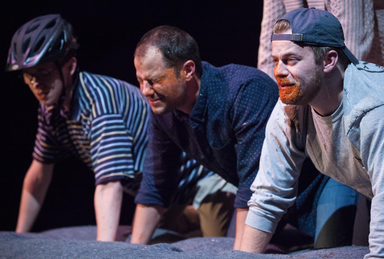 Gage Tarlton, Tyler Joseph, and Derek Speedy in PYRAMID EFFECT. Photo by Carolyn Brown.