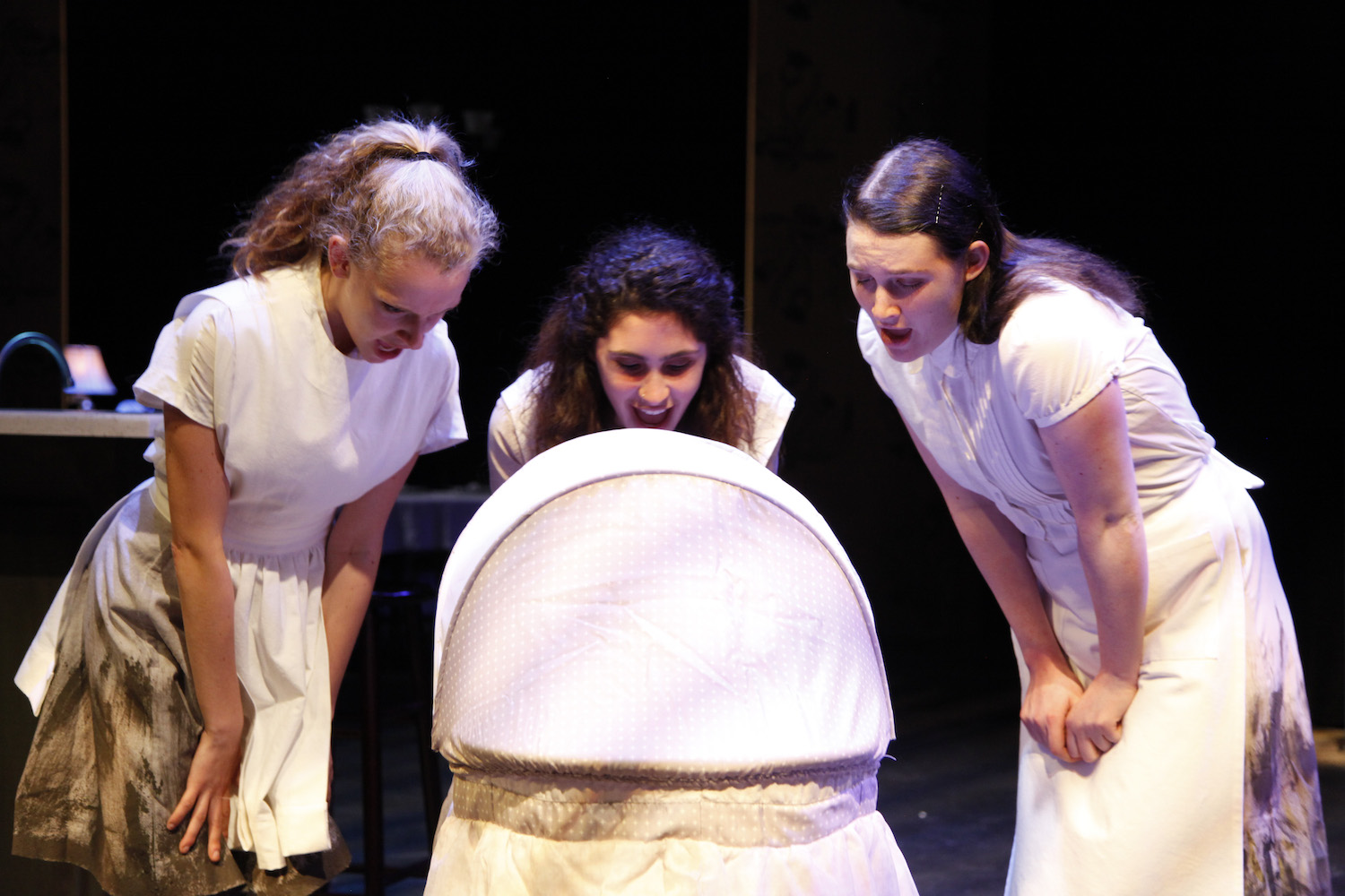 Talia Bornstein, Mira Kessler, and Kylie Underwood in MACBETH. Photo by Mike Lovett.