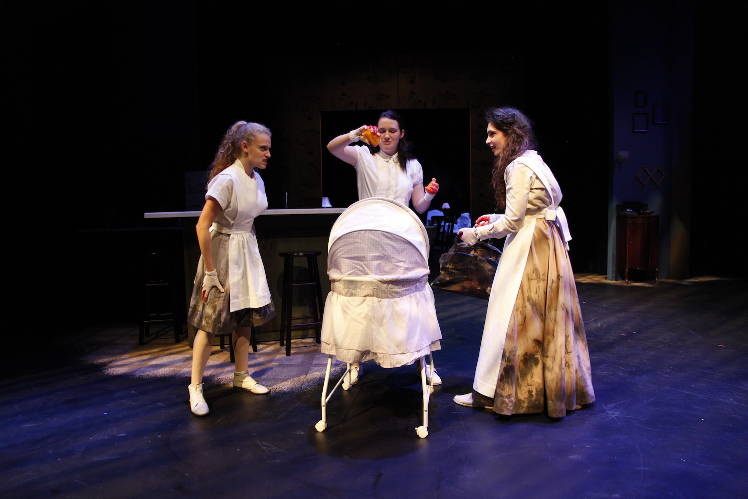 Talia Bornstein, Kylie Underwood, and Mira Kessler in MACBETH. Photo by Mark Lovett.