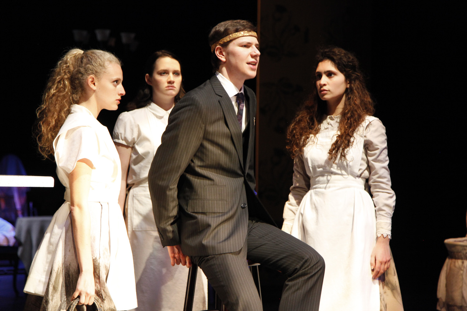 Talia Bornstein, Kylie Underwood, Raphael Stigliano, and Mira Kessler in MACBETH. Photo by Mark Lovett.