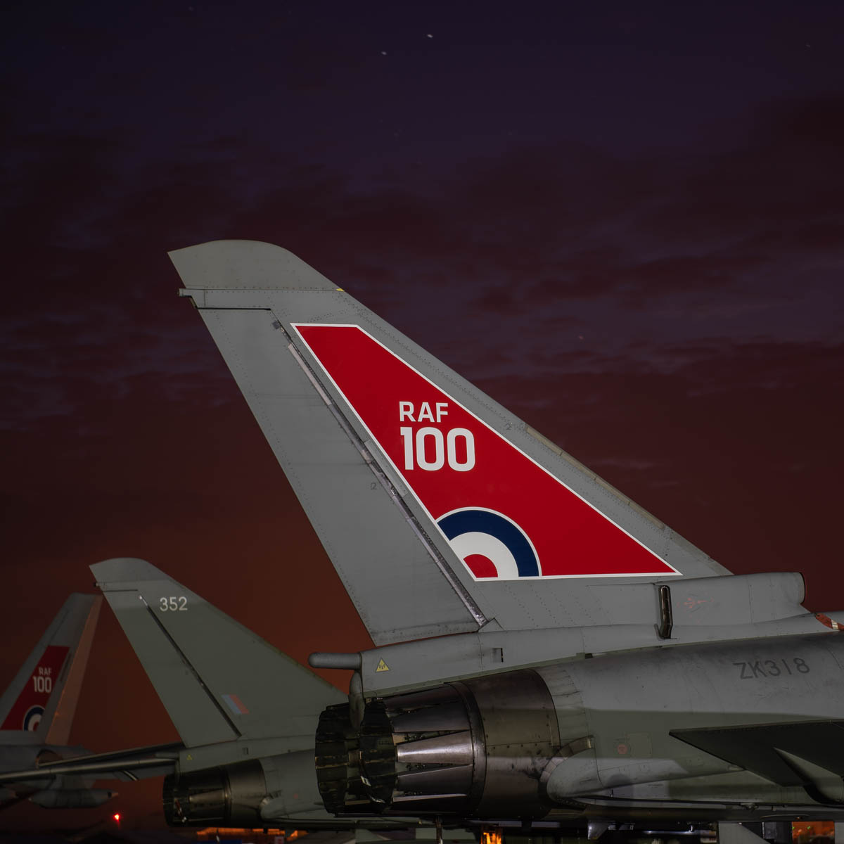 Special RAF 100 tail on the Typhoon display aircraft.