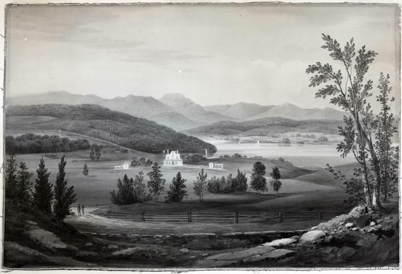 The house as built in 1811-1812 with open farmland to the Hudson River. William Guy Wall watercolor. Unpublished study for the Hudson River Portfolio, ca. 1819. Courtesy: New-York Historical Society.