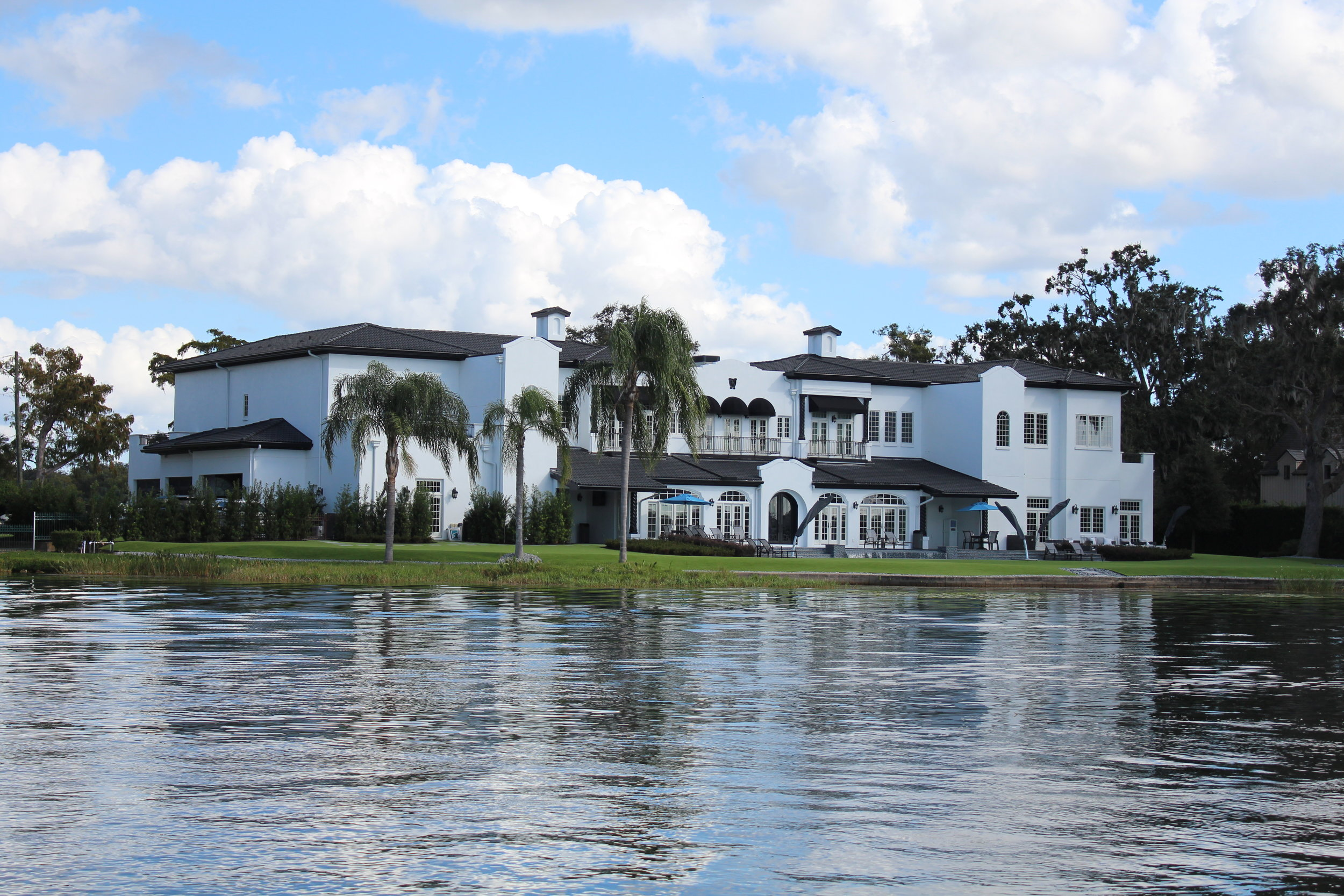 View of a typical Winter Park home from the boat