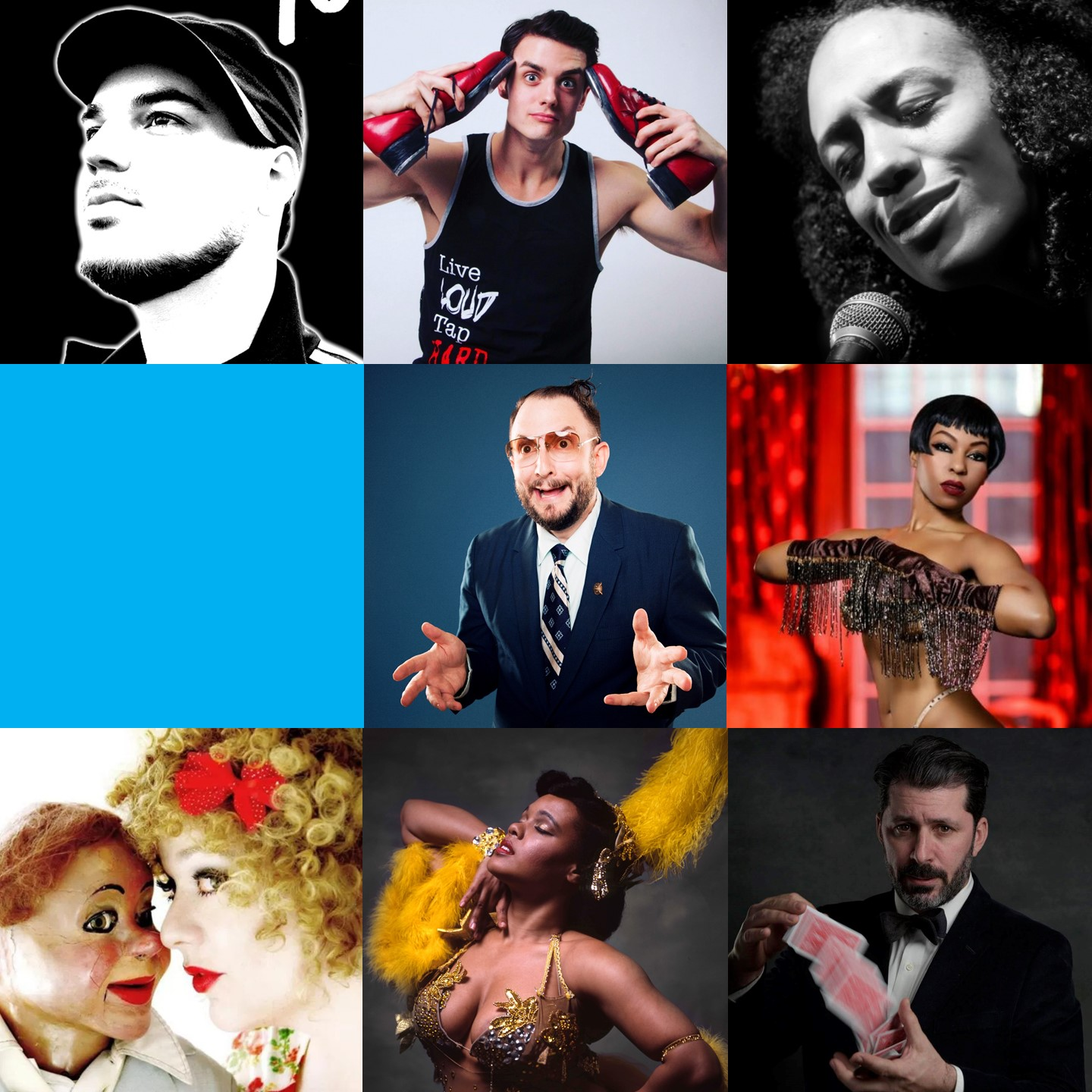 March 9 & 10, 2018   Hosted by Dale Seever  FEATURING: Chaney Sims & Yako 440  (Blues Singer & Multi-Instrumentalist) Carla Rhodes (Risque Ventriloquist) Mediocre Flow (Tap Buskers) The Great Dubini (Close-up Magic) Genie Adagio & Delysia Le Chatte (Scandalous Burlesque)