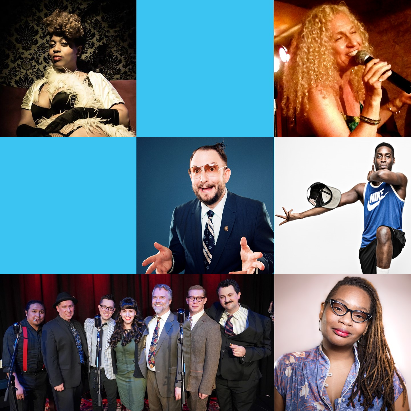 September 21 & 22, 2018   Hosted by    Dale Seever     FEATURING:    Irini Res & The Jazz Mix  (Jazz Combo Icons)  Shalewa Sharpe  (Sly and Goofy Standup)  X Plus One  (Improv SciFi Radio Show)  Mandarine Moon-Fly  (Scintillating Burlesque)  Kellz Zada  (Amazing Flexn Dance)