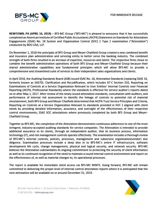 BFS-MC Press Release SSAE 18 SOC 1