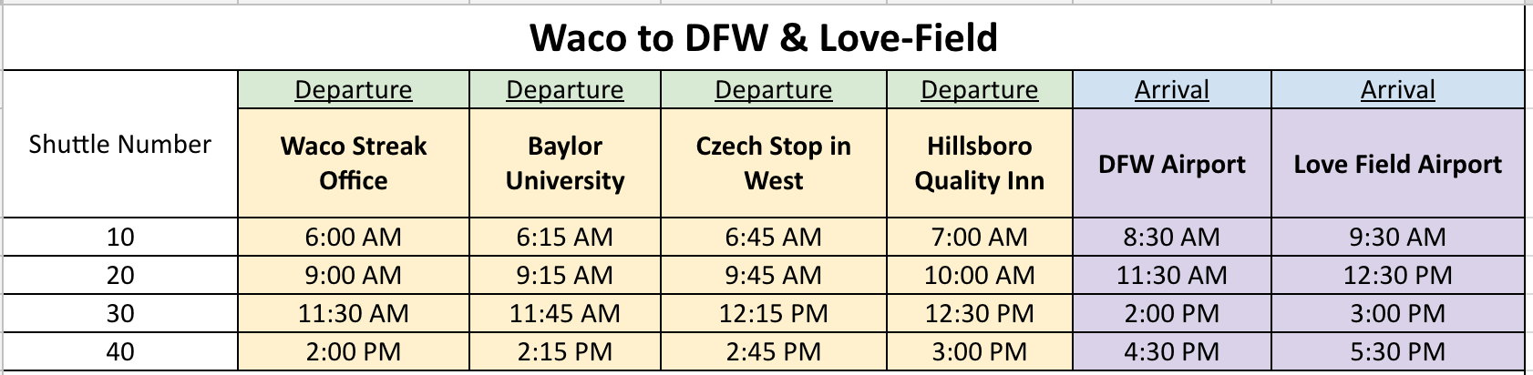 Waco to DFW & Love-Field