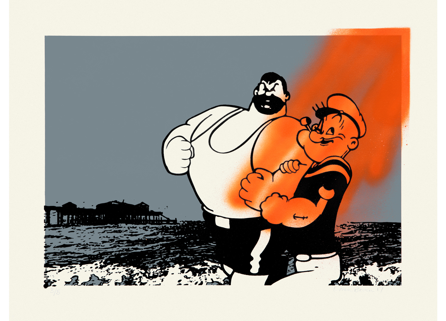 Popeye & Brutus Do Deal  Screen print & spray paint on paper| 35 x 50cm Signed limited edition of 5 | £395 (2 available)