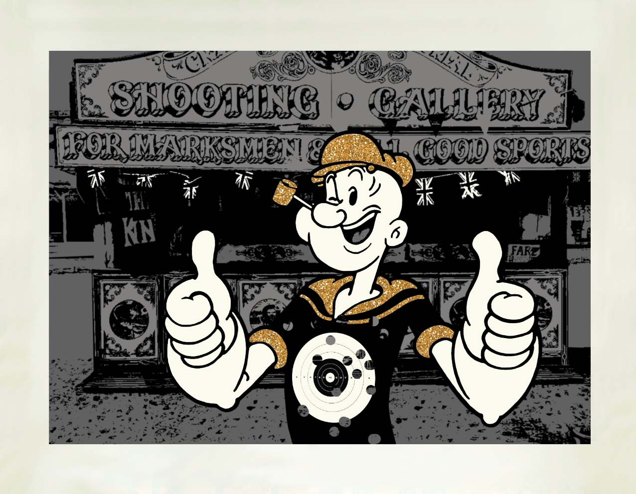 Popeye & The Shooting Gallery  Hand-embellished digital print on Hahnemuhle paper | 40 x 55cm Signed limited edition print of 50 | £295