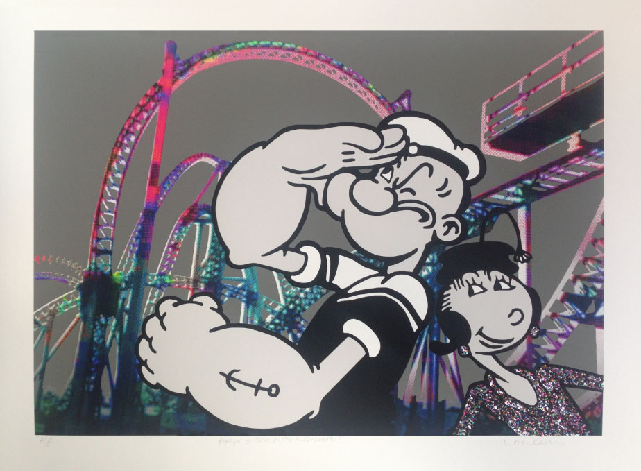 Popeye & Olive On The Rollercoaster  Hand-embellished digital print on Hahnemuhle paper | 40 x 55cm Signed limited edition print of 50 | £295