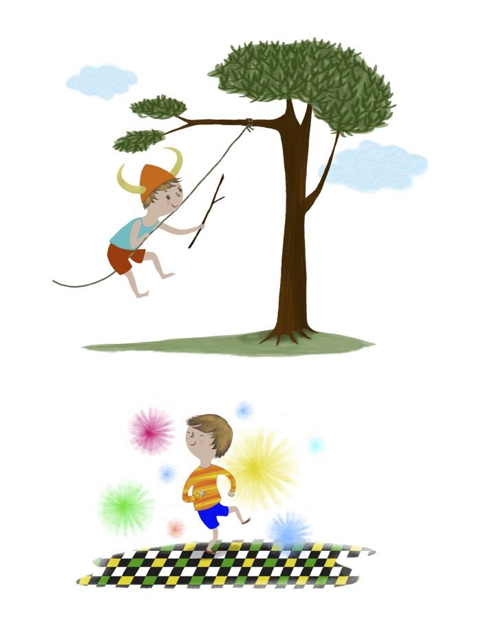 Finn having fun.  Illustration © Anne Wilson