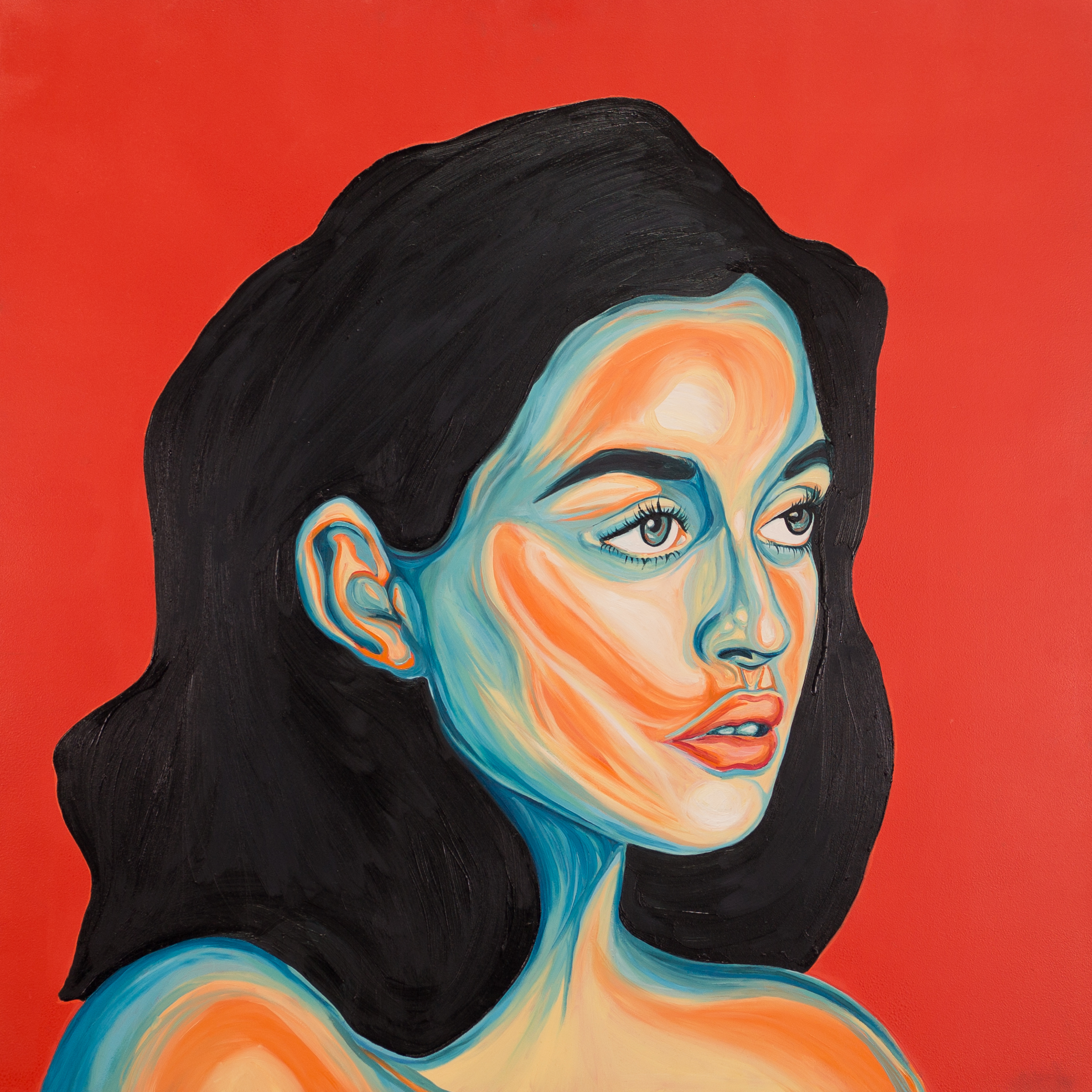 You say red, I see orange    2018  Oil and acrylic on canvas  30 x 30 inches