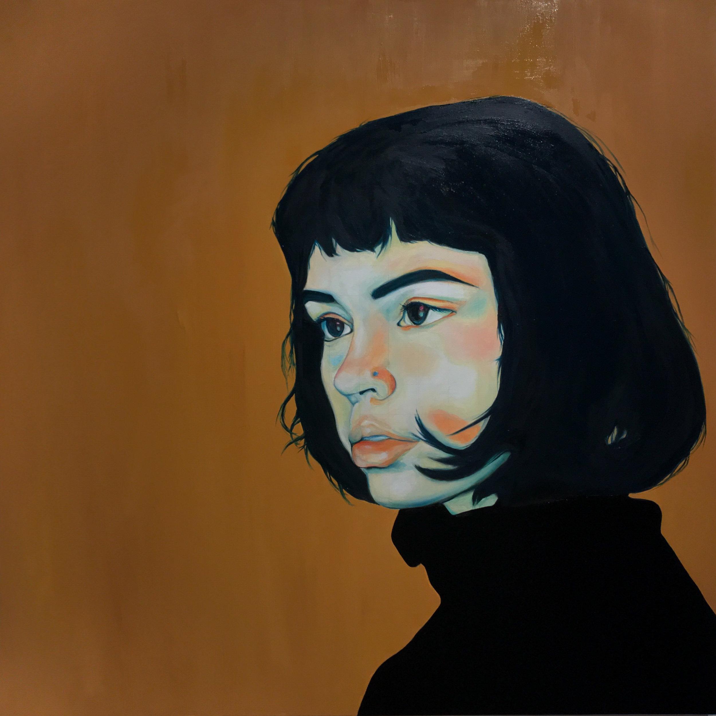 """Ana,  2017. oil on canvas, 36 x 36"""" (91.44 x 91.44 cm)."""